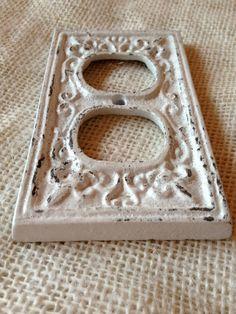 outlet cover cast iron fleur de lis white by kitnkaboodlehome, $9.00