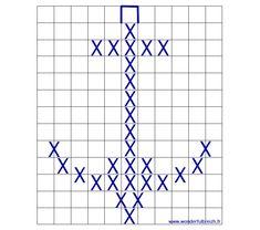 modèle motif ancre marine point de croix Bobble Stitch Crochet, C2c Crochet, Tapestry Crochet, Chrochet, Filet Crochet, Knitting Charts, Knitting Stitches, Baby Knitting, Mini Cross Stitch