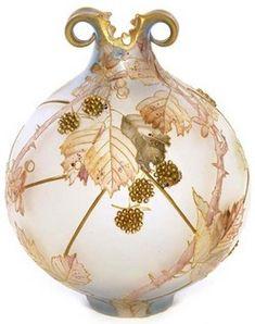 Mt Washington Glass; Royal Flemish, Vase, Globular, Blackberries, 9 inch.