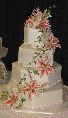 Stargazer Lily Floral Wedding Cakes, Wedding Cakes With Cupcakes, Elegant Wedding Cakes, Wedding Cake Designs, Wedding Cake Toppers, Cupcake Cakes, Elegant Cakes, Floral Cake, Purple Wedding