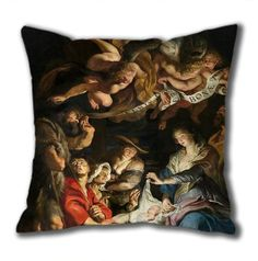 Novel Design Birth Of Christ Adoration Of The Shepherds Standard Size Design Square Pillowcase/Cotton Pillowcase with Invisible Zipper in 40*40CM (5267)-52750 $21.88