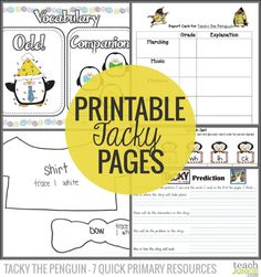 Printable Tacky Pages - Tacky the Penguin - 7 Quick Primary Resources