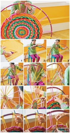 How to use recycled cloth and hula hoop to make colorful mat step by step DIY tutorial instructions.   I used to do this all the time as a child.