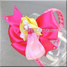 *price is for Sleeping Beauty Ribbon Sculpture, 4 Satin Hot Pink Bow & Woven Headband    Here she is dressed beautifully in her pink satin gown. Girls
