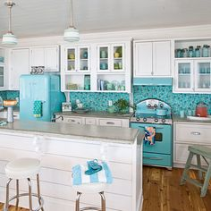Retro Turquoise Kitchen - Using Color in the Kitchen - Coastal Living