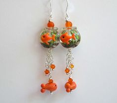 Gold Fish Earrings Fish Bowl Earrings Whimsical by bstrung on Etsy