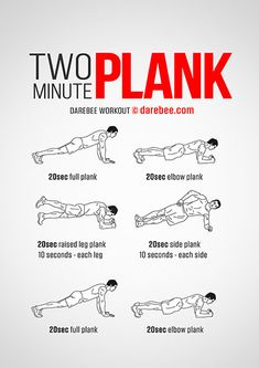 The Two Minute Plank workout helps you get a strong core that will change your physical capabilities. Boxing Training Workout, Gym Workout Tips, Fitness Workout For Women, Plank Workout, Running Workouts, Workout Challenge, Fun Workouts, Fitness Routines, Quad Exercises