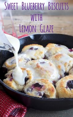 Sweet Blueberry Biscuits with Lemon Glaze - My Country Table These buttermilk biscuits are tender and packed full of sweet blueberries and they get finished with a drizzling of lemon glaze. A great weekend breakfast! Biscuit Bread, Breakfast Biscuits, What's For Breakfast, Breakfast Items, Biscuit Recipe, Breakfast Dishes, Breakfast Recipes, Blueberry Breakfast, Breakfast Pastries