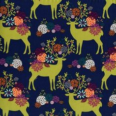 Michael Miller - Rustique - Yes Deer (Navy) Fabric