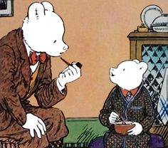 Rupert Bear tells his Dad about his day