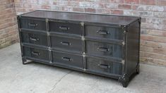 Made entirely out of mild steel, this industrial dresser has the look and feel of an aged vintage antique from the 1920's 1930's. Every component of this unique piece is entirely handmade from the drawers, handles and slides. This dresser can be ordered in an aged black/brown or clear coated over raw steel. Drawers are lined with a durable wrinkle-finish textured paint.