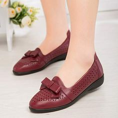 de557db677 getmorebeauty Womens Burgundy Vintage Bows Flat Shoes with Mesh Grace Style  Low Heels Shoes 9 B