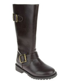 Take a look at this Brown Little Riding Boot by RUUM Footwear on @zulily today!  Totally ordered!