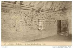 THE DUNGEON - JAIL OF Ludovic Sforza  in the Château de Loches.  Ludovico was handed over to the French in April 1500. Deprived of all the amenities of life, he spent his last years in the underground dungeon at Loches, where he died on 17 May 1508. Ludovico painted the walls of his cell.