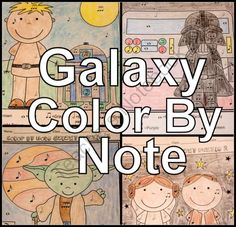 Galaxy Color By Note set of 8 Coloring Sheets for Music Class from The Bulletin Board Lady on TeachersNotebook.com (8 pages)  - In a galaxy far, far away learning was fun!  Bring it to our planet and your classroom with this set of color by note sheets.  This kit contains 4 designs in two different formats.