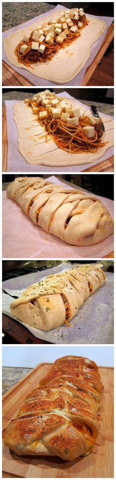 Ingredients   1 Loaf Rhodes Bread Dough or 12 Rhodes Dinner Rolls, thawed to room temperature  6 oz spaghetti, cooked  1 cup thick spag...