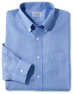 372dfe56dd4a2e  ad L.L.Bean Wrinkle-Free Pinpoint Oxford Shirt, Slightly Fitted Tattersall  for men