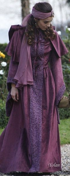 "Mahidevran Sultan - Magnificent Century - ""New Home, New Rules Season Episode 1 Divas, Fairytale Fashion, Fantasy Costumes, Movie Costumes, Shades Of Purple, Purple Haze, Historical Clothing, Violet, Purple Dress"