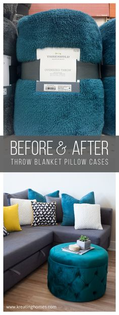 Turn a blanket into a set of pillow cases in just minutes! And no zippers or closures means these throw blanket pillow cases are perfect for beginners!