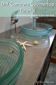 DIY concrete countertop tutorial with a video to help  guide you through making your own concrete countertop.  You can have new countertops in a few days, they'll look great and you'll save a fortune by doing them yourself! www.H2OBungalow.com