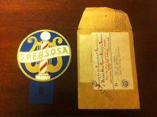 License Plate Tag Topper - Vintage S.P.E.B.S.Q.S.A. Barber Shop Quartet