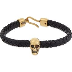 ALEXANDER MCQUEEN Leather skull bracelet (£175) ❤ liked on Polyvore featuring men's fashion, men's jewelry, men's bracelets, mens leather braided bracelets, mens leather bracelets and mens skull bracelets