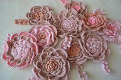 flower girl gift DIY white flowers Kit to create pink crochet flower applique design Irish crochet red flower applique Rose Сrochet  10pcs