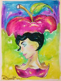 Profile of a wioman into an apple. Watercolour on Gvarro. 11 in X 15 in. Rivera Fernández 2016