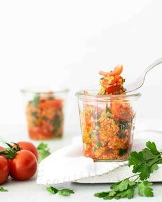 Scharfer Bulgur-Tomaten-Salat - vegan to go - Kochstübchen Superfood, Bowl Set, To Go, Salsa, Mexican, Stuffed Peppers, Healthy Recipes, Vegetables, Ethnic Recipes
