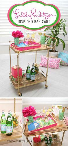 Lilly Pulitzer Summer Bar Cart | Celebration Stylist