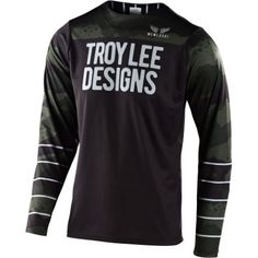 Troy Lee Designs Skyline Pinstripe Camo Jersey - order cheap at FC-Moto Mountain Bike Jerseys, Cycling Outfit, Cycling Clothing, Troy Lee, Black M, Athletic Wear, Motorcycle Jacket, Adidas Jacket, Camo