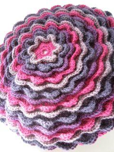 Purple and Fuschia Flower Crocheted Pillow Cushion Cover