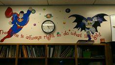 Superman & Batman protecting the Time Superhero Classroom Theme, Superhero Ideas, Future Classroom, Classroom Themes, Elementary Bulletin Boards, Math Night, School Counseling, Fourth Grade, Theme Ideas