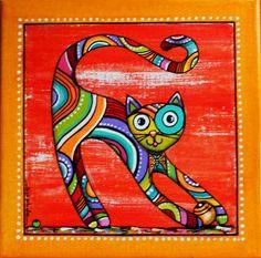"""Tableau du chat joueur """"Papillon"""" sur fond rouge : Décorations murales par sylphide Animal Projects, Art Projects, Fabric Painting, Watercolor Paintings, Cat Quilt, Cat Colors, Aboriginal Art, Cat Drawing, Beach Art"""
