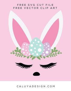 FREE easter bunny SVG cut file, Printable vector clip art download. Free printable clip art easter bunny. Compatible with Cameo Silhouette, Cricut explore and other major cutting machines. 100% for personal use, only $3 for commercial use. Perfect for DIY craft project with Cricut & Cameo Silhouette, card making, scrapbooking, making planner stickers, making vinyl decals, decorating t-shirts with HTV and more! Free SVG cut file, bunny SVG cut file, free bunny face SVG file, Animal face SVG,