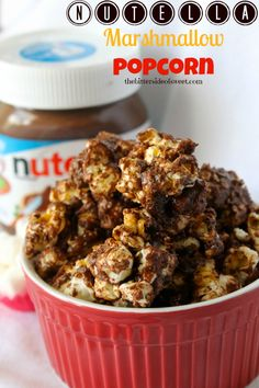Nutella Marshmallow Popcorn - theBitterSideofSweet •½ cup uncooked popcorn •2 tablespoons extra virgin olive oil (that is what I used this time around) •10 marshmallows or 1½ cup mini marshmallows •2 tablespoons butter •⅓ cup Nutella plus 2 tablespoons