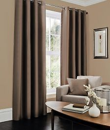 Faux Silk Fully Lined Ready Made Eyelet Ring Top Pair Of Curtains + Tie Backs. Ready Made Curtains. With Tie Backs. Fully Lined. Room Darkening Curtains, Sheer Curtains, Panel Curtains, Brown Curtains, Curtains Living, Drapery Panels, Linen Bedding, Bedding Sets, Bedding Decor