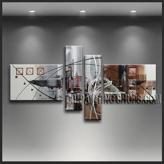 Beautiful Modern Abstract Painting Artist Oil Painting Stretched Ready To Hang Abstract. This 4 panels canvas wall art is hand painted by A.Qiang, instock - $165. To see more, visit OilPaintingShops.com