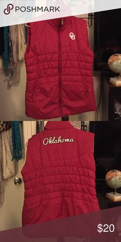 Oklahoma University (OU) zip-up vest Represent OU with this warm AND stylish zip-up vest! Colosseum Jackets & Coats Vests