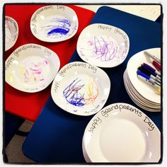 Grandparents Day Craft. I bought $1 plates from Dollar Tree. The kiddos colored or made a picture with Sharpie markers. Bake plate in over at 350 for 30 minutes.