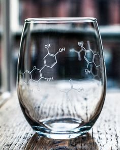 For the nerdy wine lover. Wine Chemistry Printed Stemless Wine Glass by CognitiveSurplus