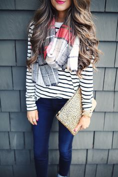 fall outfit - pattern mixing
