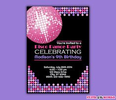 Dance Disco Birthday Party Invitation INSTANT by PupiloftheWorld, $8.00