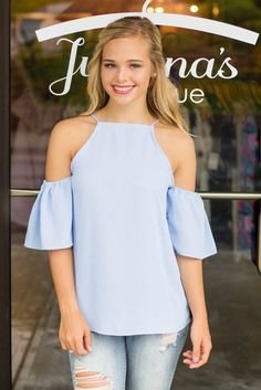 81f4961bdd Denim Romper- Cute Fall Romper-  35- Trendy Women s Clothing. See more.  Baby Blue Cold Shoulder Top- Basic Blue Blouse-  28- Trendy Women s Boutique