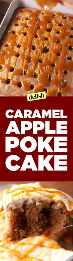Apple Poke Cake Caramel Apple Poke Cake will steal the spotlight from apple pie this Thanksgiving.Caramel Apple Poke Cake will steal the spotlight from apple pie this Thanksgiving. Caramel Apple Poke Cake Recipe, Poke Cake Recipes, Poke Cakes, Cupcake Cakes, Dessert Recipes, Lava Cakes, Bundt Cakes, Cake Cookies, Snack Recipes