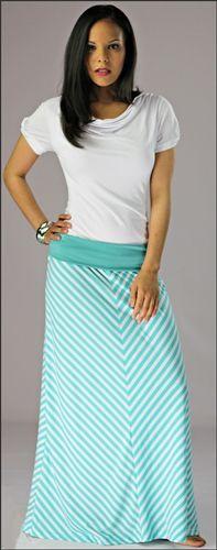 Teal Chevron Maxi Skirt by Mikarose