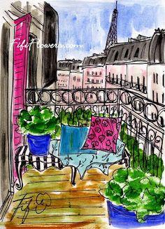 Hot Pink Paris Shutter by Fifi Flowers Paris Illustration, Illustrations, Watercolor Illustration, Watercolor Landscape, Watercolor And Ink, Watercolor Paintings, Watercolors, Pink Paris, Little Paris