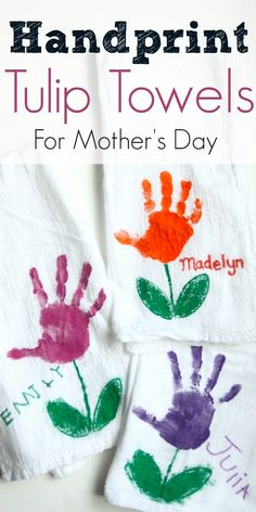 Cute Hand Print Tulip Towels Mothers Day Kids DIY Idea
