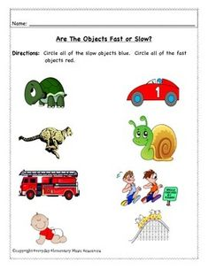 Fast & Slow Tempo Assessment & NO PREP SUB WORKSHEETS FOR THE GENERAL MUSIC CLASSROOM!