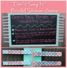 Don't Say It Bridal Shower Game - Don't Say the words Bride or Wedding during the shower or else you will lose your pins - Guests with the most pins at the end of the shower - Wins a fun prize! #bridalshowergames #weddingshower